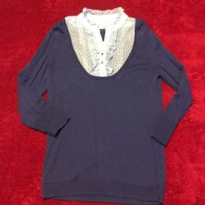 New York & Co 3/4 Sweater with Attached Ruffles
